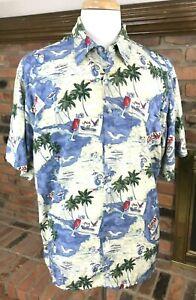 PIERRE-CARDIN-Rayon-Hawaiian-Palms-Sailing-Island-Camp-Shirt-Havana-Men-039-s-XL