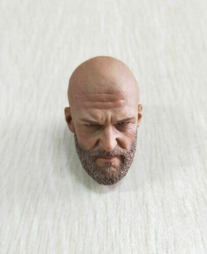 "1//6 Male Head Bald Sculpt Beard PVC Model A-20 Mango Villain Fit 12/"" Figure"