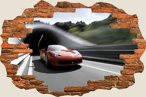 3D Hole in Wall Ferrari 458 Supercar View Wall Sticker Decal