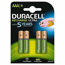 Pack of 4 Duracell AAA 850mAh Rechargeable Ultra Batteries NiMH LR03 HR03 DX2400