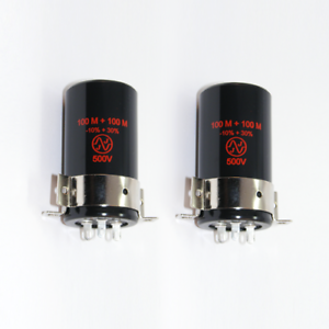 2x-JJ-Elko-100-100uF-500V-incl-clamp-Schelle-Can-capacitor-100-uF-F