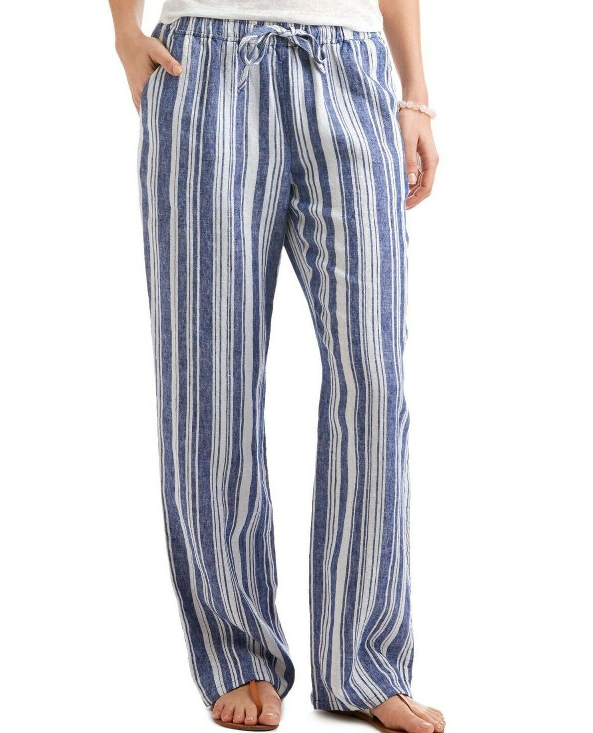 98 NWT VINEYARD VINES SzXS SAILING STRIPE PULL-ON WIDE-LEG LINEN PANTS ROYAL OC