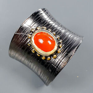 Natural Carnelian Ring Silver 925 Sterling Handmade Size 7.5 /R133080