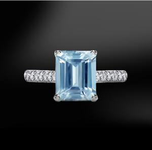 2Ct-Emerald-Cut-Blue-Aquamarine-Diamond-Band-Engagement-Ring-14K-White-Gold-Over