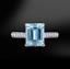 2Ct-Emerald-Cut-Blue-Aquamarine-Diamond-Band-Engagement-Ring-14K-White-Gold-Over thumbnail 1
