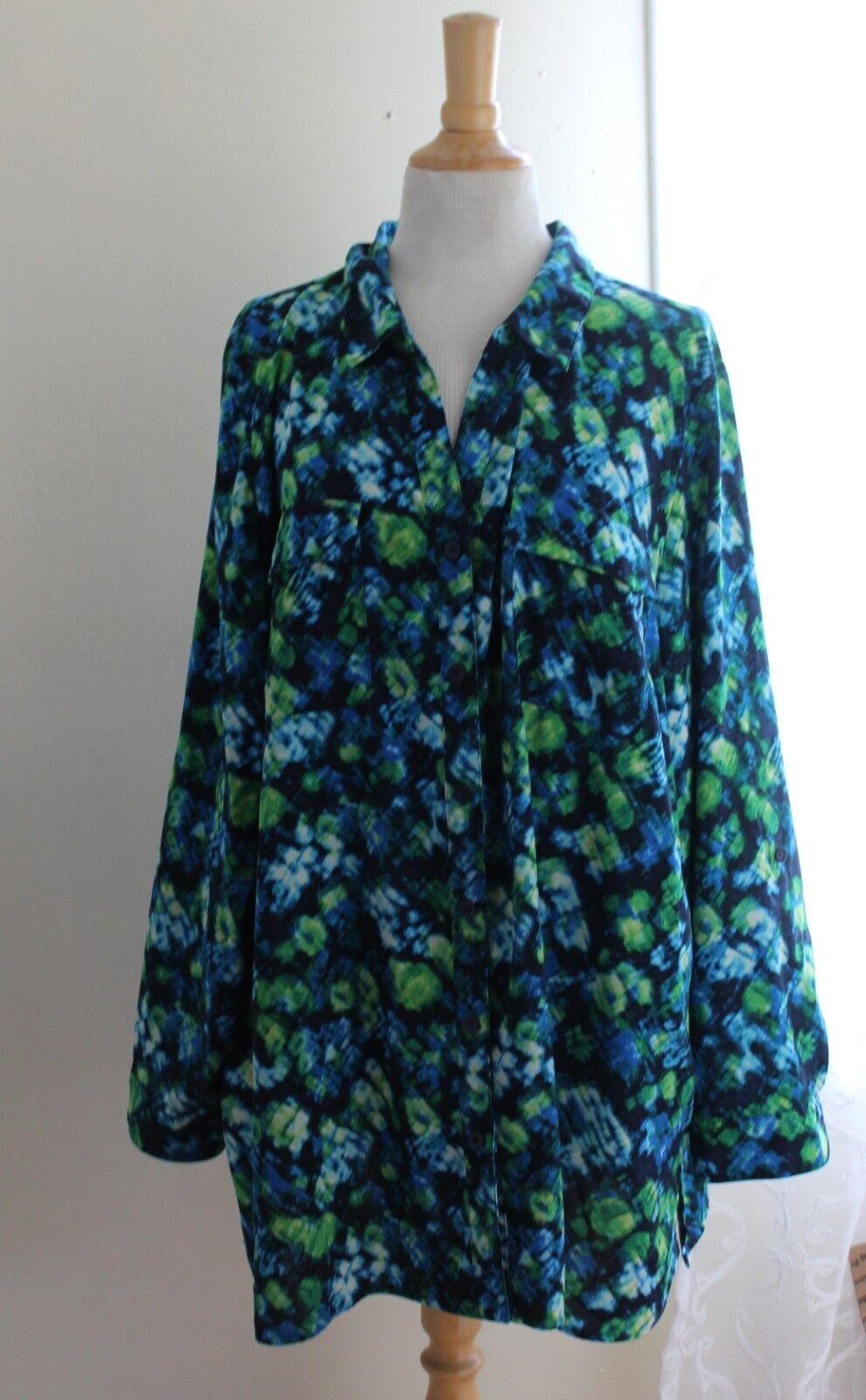 Catherines -Sz 2X 22 24W Turquoise Blau Grüns Pocket Art-Wear Tunic Shirt Top