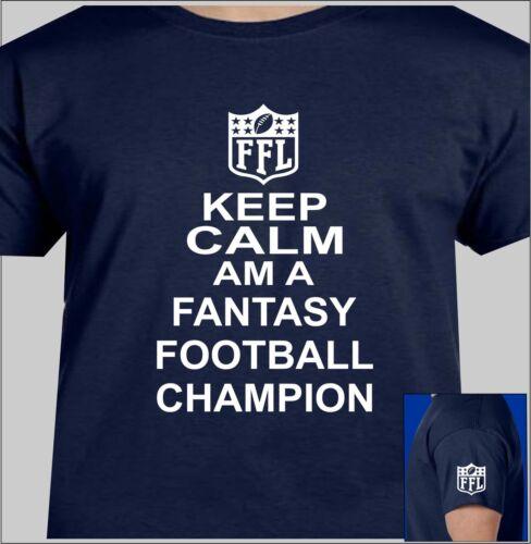 KEEP CALM FANTASY FOOTBALL T-SHIRT CHAMPION FFL LOGO ON LEFT SLEEVE FFL LEGEND