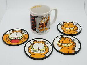 Vintage Enesco United Feature Syndicate Garfield Boom Blah Coffee Mug/Coasters