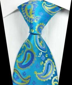 New Classic Paisleys Yellow Black JACQUARD WOVEN 100/% Silk Men/'s Tie Necktie
