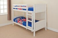 Wooden Bunk Bed Kids Childrens Single Pine Or White 3ft Christopher + 2 Mattress