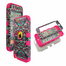 Pink Blue Paisley Hybrid 3 in 1 Apple  Ipod Touch 5 Case Hard Cover Faceplate