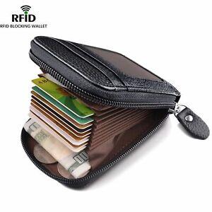 Men's Wallet Genuine Leather Credit Card Holder RFID Blocking Zipper Pocket Men