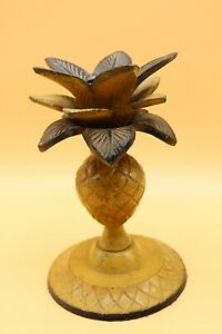 Antique-Pineapple-Palm-Tree-Candle-Holder-Cast-Iron-Original-Yellow-Paint