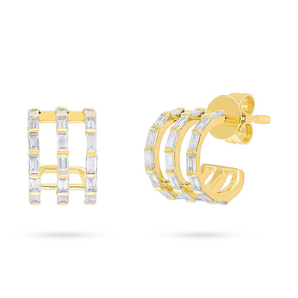 e4e8eafee 0.72 CT 14K Yellow gold Natural Baguette Cut Diamond Cuff Earrings Stud  Jewelry