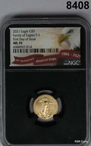 2021 GOLD EAGLE $5 1/10TH OZ FDOI NGC CERTIFIED MS70!! #8408