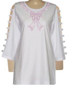 PLUS-2X-Tunic-Top-Embellished-Pink-Rhinestone-Hope-Faith-Breast-Cancer-Ribbon