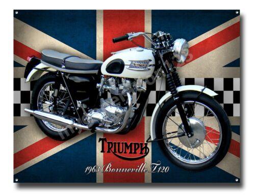TRIUMPH BONNEVILLE T120 1963 WHITE BIKE MOTORCYCLE METAL SIGN. CLASSIC BIKES A3