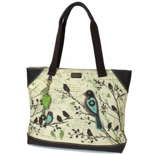 Chala Safari Forest Bird Large Canvas Tote Shoulder handbag 912-Bird