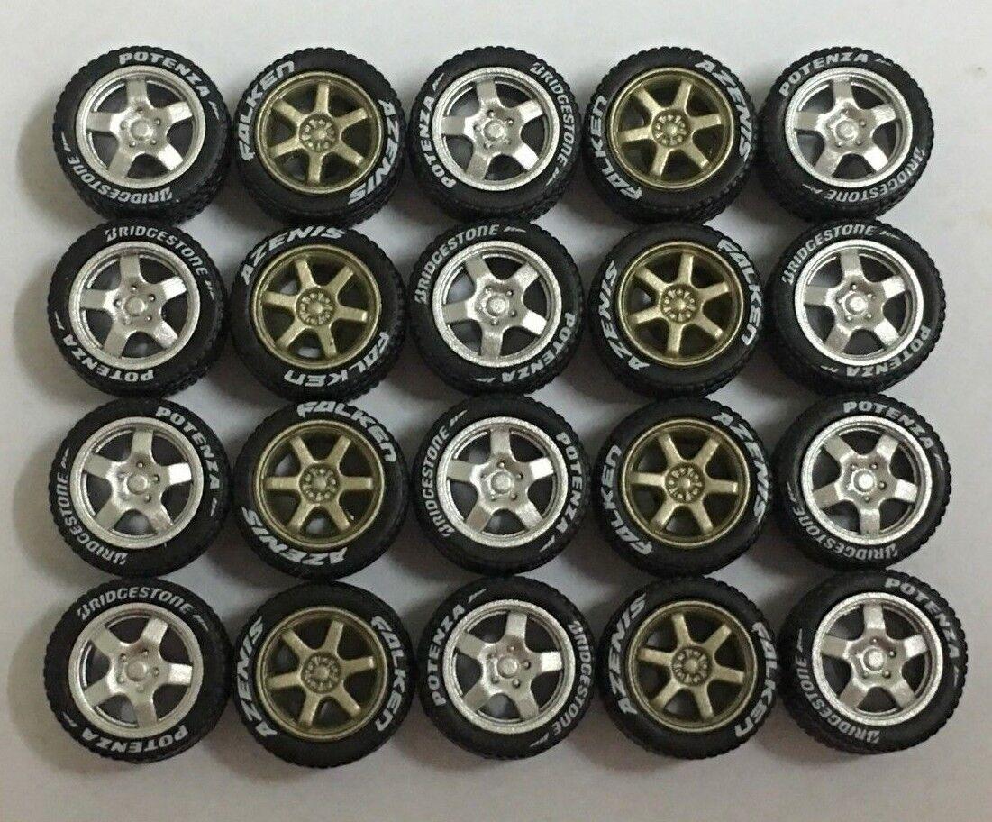 1 64 neumáticos de goma-Plata T5 TE37 Bronce Fit Hot Wheels Diecast - 5 Juegos-R358