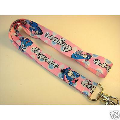 Eeyore Character Pink And Blue Lanyard ID Holder Keychain
