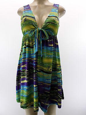 NEW PINK POLKADOT 49 Sharise Neil Deep V Purple Green Yellow Stripe Dress  XS
