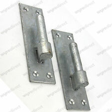 2 Heavy Duty Wrought Iron Gate Hinges Brackets 19mm Pin Hook On Plate Galvanised