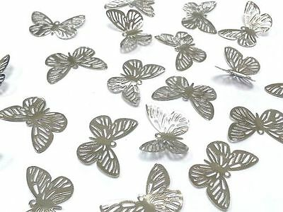 BF3- 20pcs SILVER Filigree Metal Butterfly Embellishments, Wedding Craft
