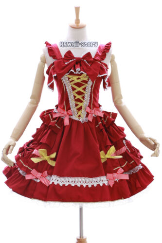 Gothique Robe 620 Classique 3 Jl Rouge Costume Rouge Or Robe Cosplay Stretch Lolita B0xzFqxw