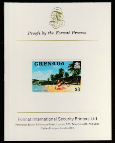 Grenada (449) 1975 Grand Anse Beach $3 imperf Format International PROOF CARD