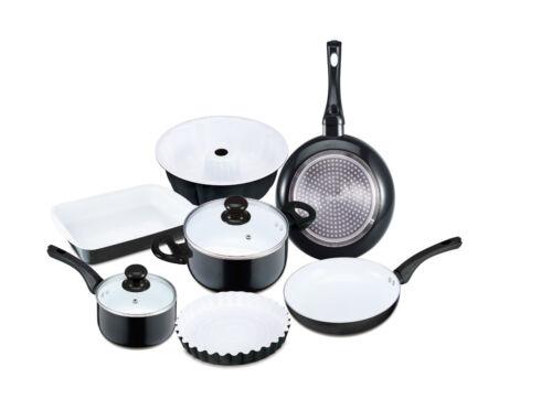 Renberg Bio Céramique Cuisinière Pot Pan Kit de 9 RB-1245 Noir