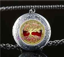 Celtic Gold Tree Of Life Glass Tibet Silver Chain Locket Pendant Necklace