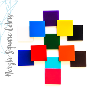 """25 ACRYLIC SQUARE BLANKS 1//8/"""" THICK SELECT SIZE /& COLOR"""