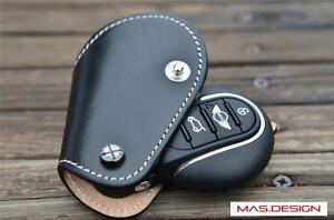 Leather-key-case-for-MINI-Cooper-S-F56-F55-F54-in-Black-with-White-stitch-style