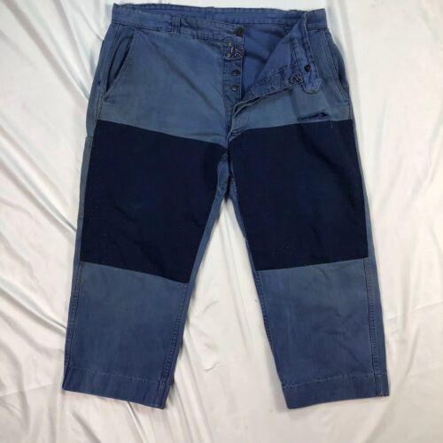 Vintage French Patchwork Blue Moleskin Workwear Tr