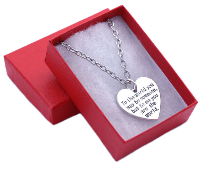 Mothers Day Gift Jewelry Mom You Are My World Heart Necklace 20 Inch