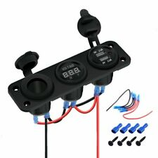 12v Dual Usb Charger Power Socket Amp Blue Led Voltmeter Switch Panel Car Boat Rv
