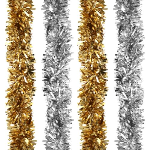 Gold or Silver Thick Chunky Wide Luxury MATTE Christmas Tree Tinsel Decoration