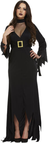 Ladies Full Length Long Deluxe Gothic Witch Halloween Fancy Dress Costume Outfit