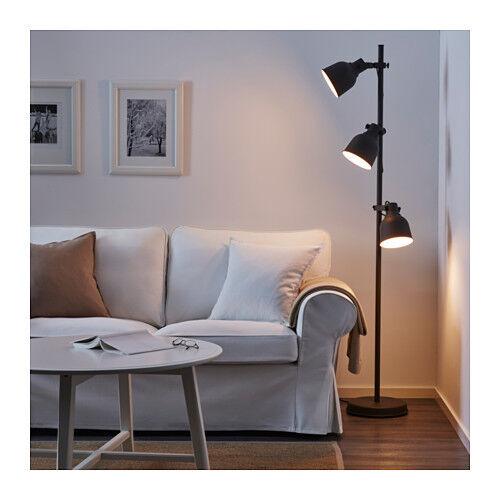 NEW IKEA HEKTAR FLOOR LAMP WITH 3 - SPOTS DARK GREY HEIGHT 176 cm HOME / OFFICE