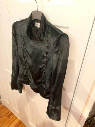 Ann DEMEULEMEESTER Black Velvet Asymmetrical Butto