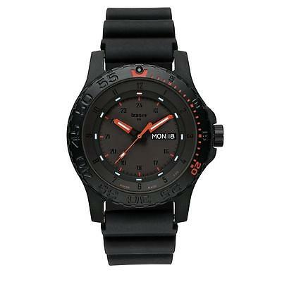 traser swiss H3 watch 104148 Red Combat tritium tactical rubber strap