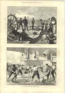 1873 Life On Board A Troop Ship Washing The Decks Heaving The Log - Jarrow, United Kingdom - 1873 Life On Board A Troop Ship Washing The Decks Heaving The Log - Jarrow, United Kingdom