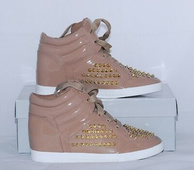 New Jessica Simpson Trebble Beige High Top Studs Sneaker Wedges Shoes Size 6.5M