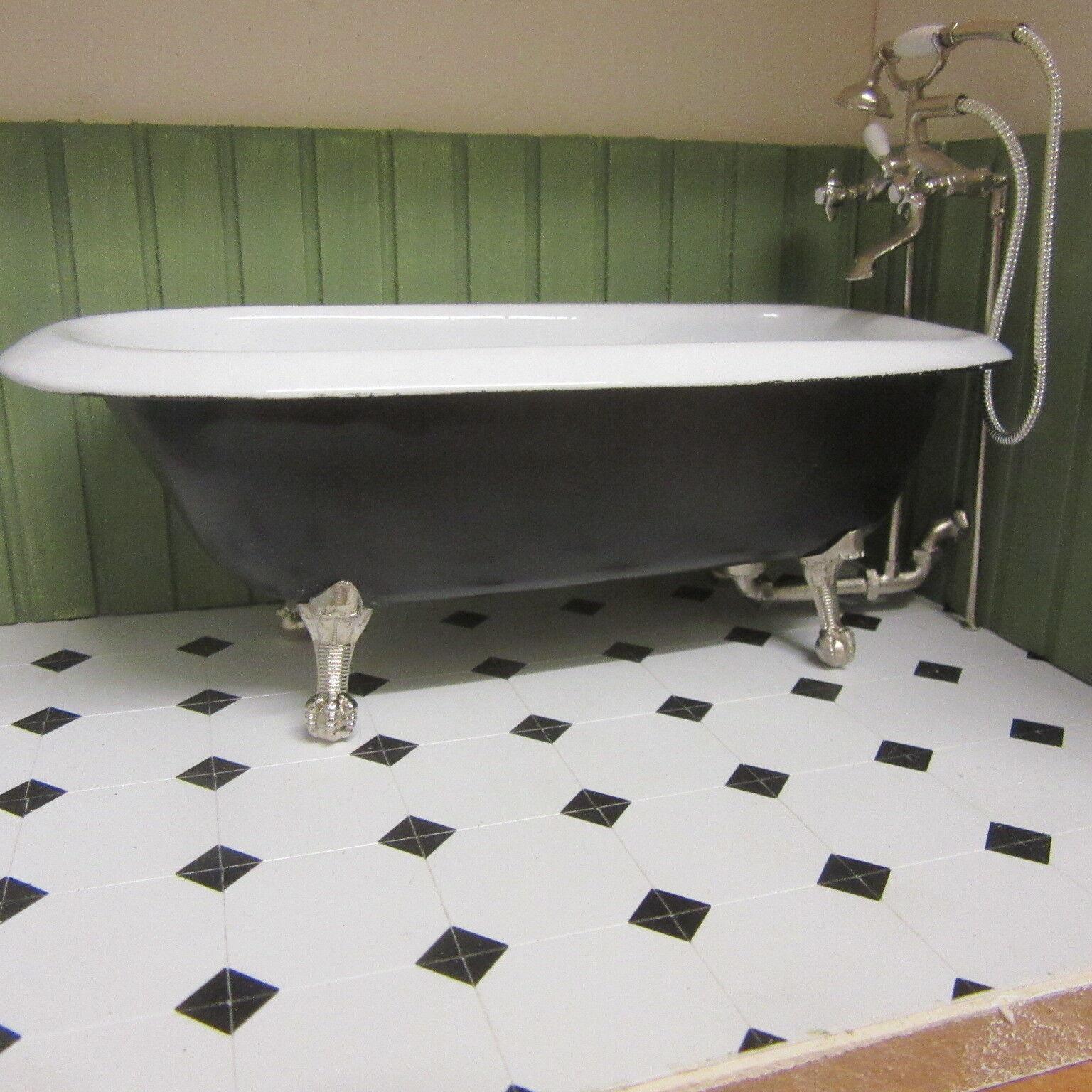 1 12 scale Dolls House Rolled Top Bath. Ready made in schwarz LA08DHD