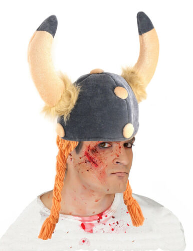 Mens Viking Helmet Fancy Dress Hat with Horns /& Hair Plaits Soft Silly Hats NEW