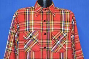 vintage-70s-RED-WHITE-BLUE-PLAID-FLANNEL-BUTTON-FRONT-MEN-039-S-SHIRT-LARGE-L