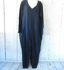 New-AnyBody-Cozy-Knit-Jumpsuit-L-Large-Petite-Blue-Jogger-Pants-Long-Sleeve-QVC