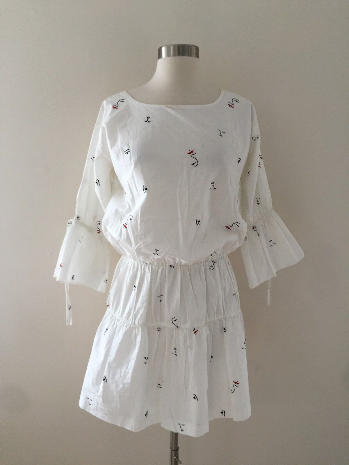 New Madewell Making Faces Tiered Dress Abstract Bright Ivory Sz S G8430