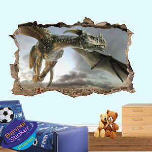 Huge Dragon Flying Cloud 3d Smashed Wall Art Sticker Room Decoration