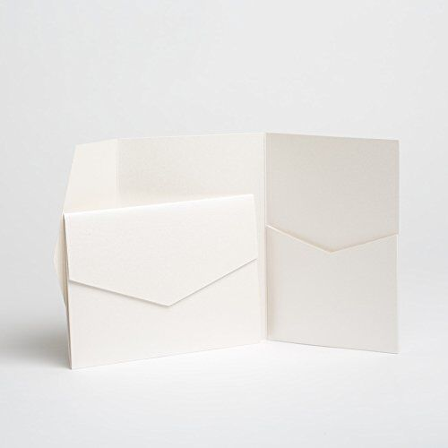 25 Powder Blue Pearlescent Pocketfold Invites 130mmx185mm